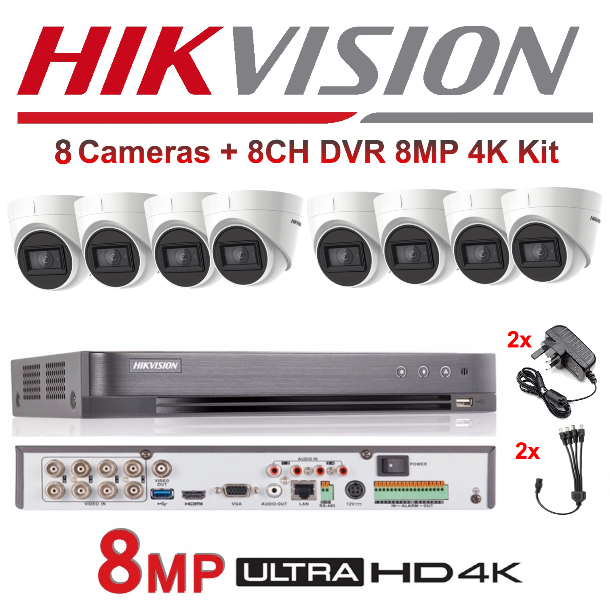 HIKVISION DS-7208HUHI-K1 8CH DVR 4K H.265+264 AHD//TVI 8MP-1080P 2019 NO HDD